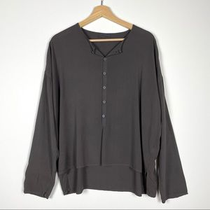 CP SHADES Gray Long Sleeve Button Front Blouse XS